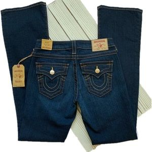 True Religion Becky Mid Rise Flap Bootcut Jeans
